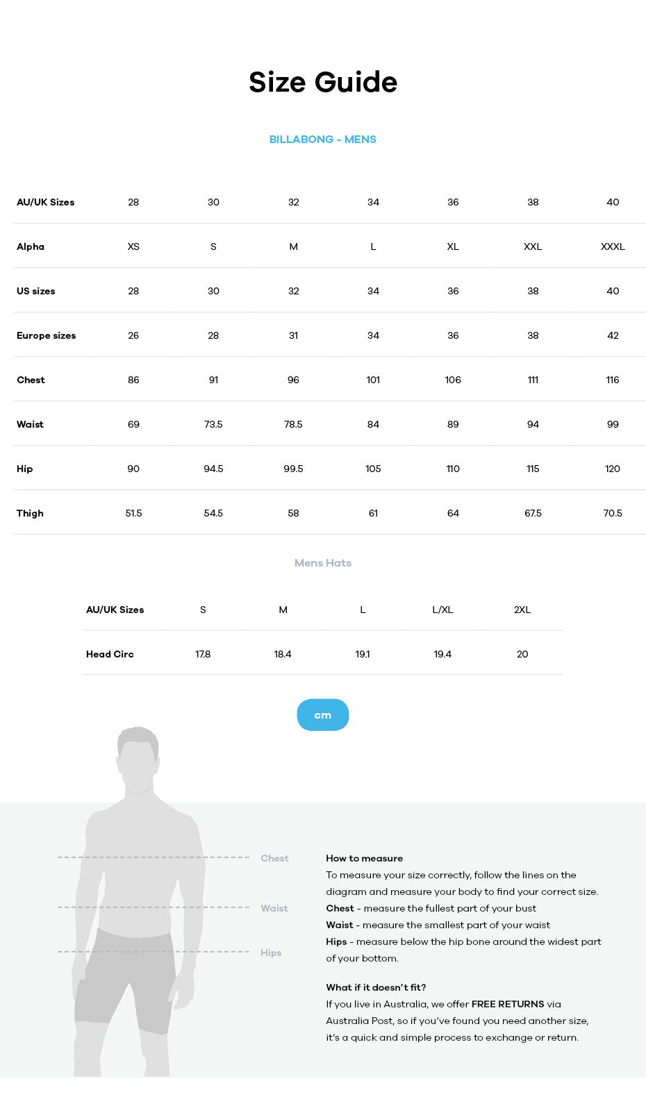 Billabong size guide