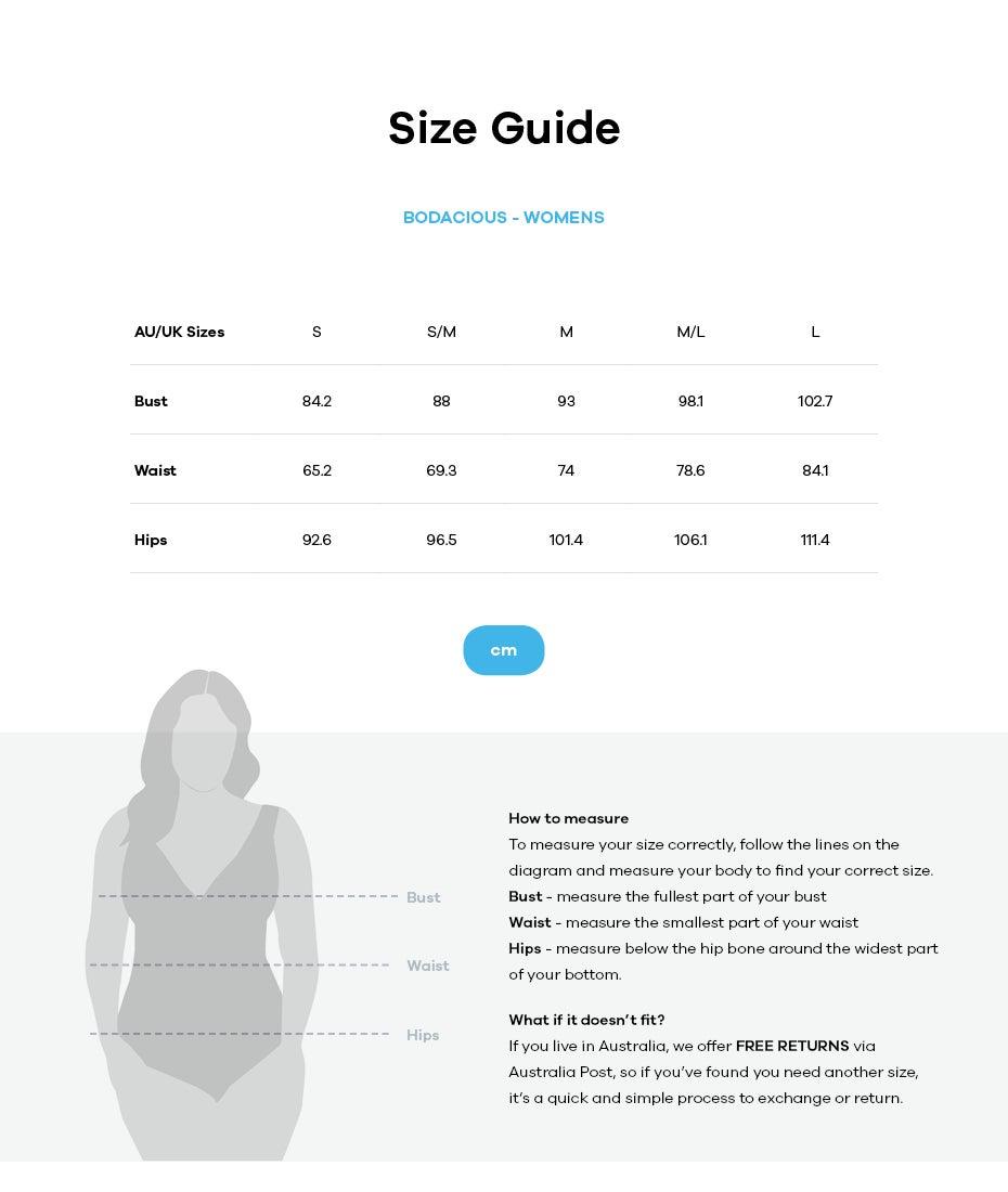 Bodacious size guide