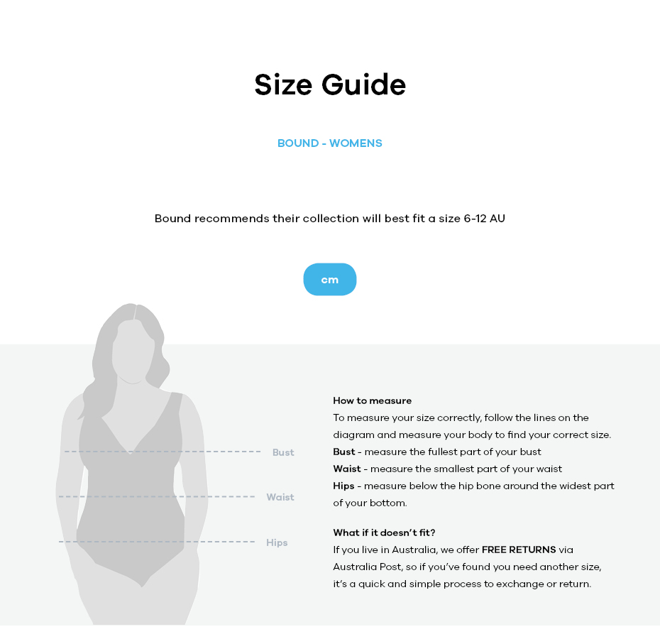 Bound size guide