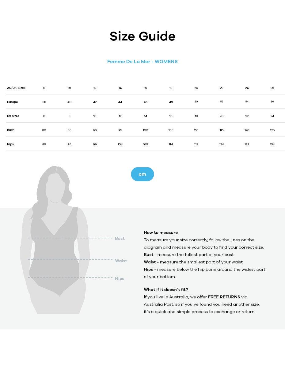 Femme De La Mer size guide