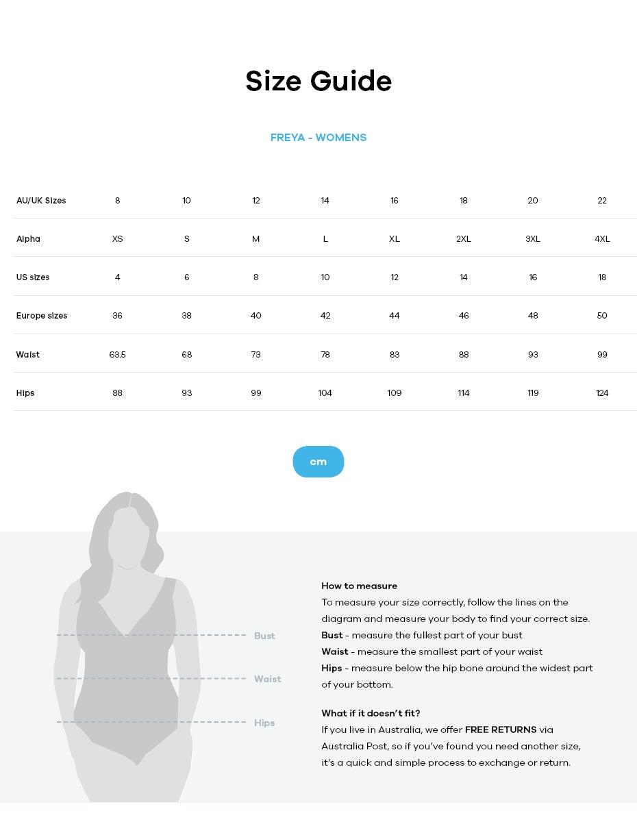 Freya size guide