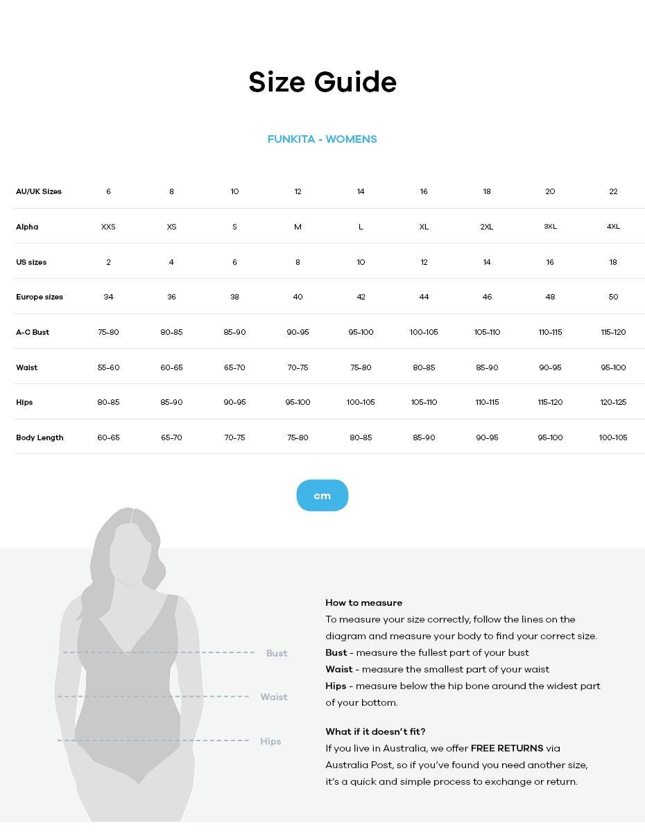 Funkita size guide