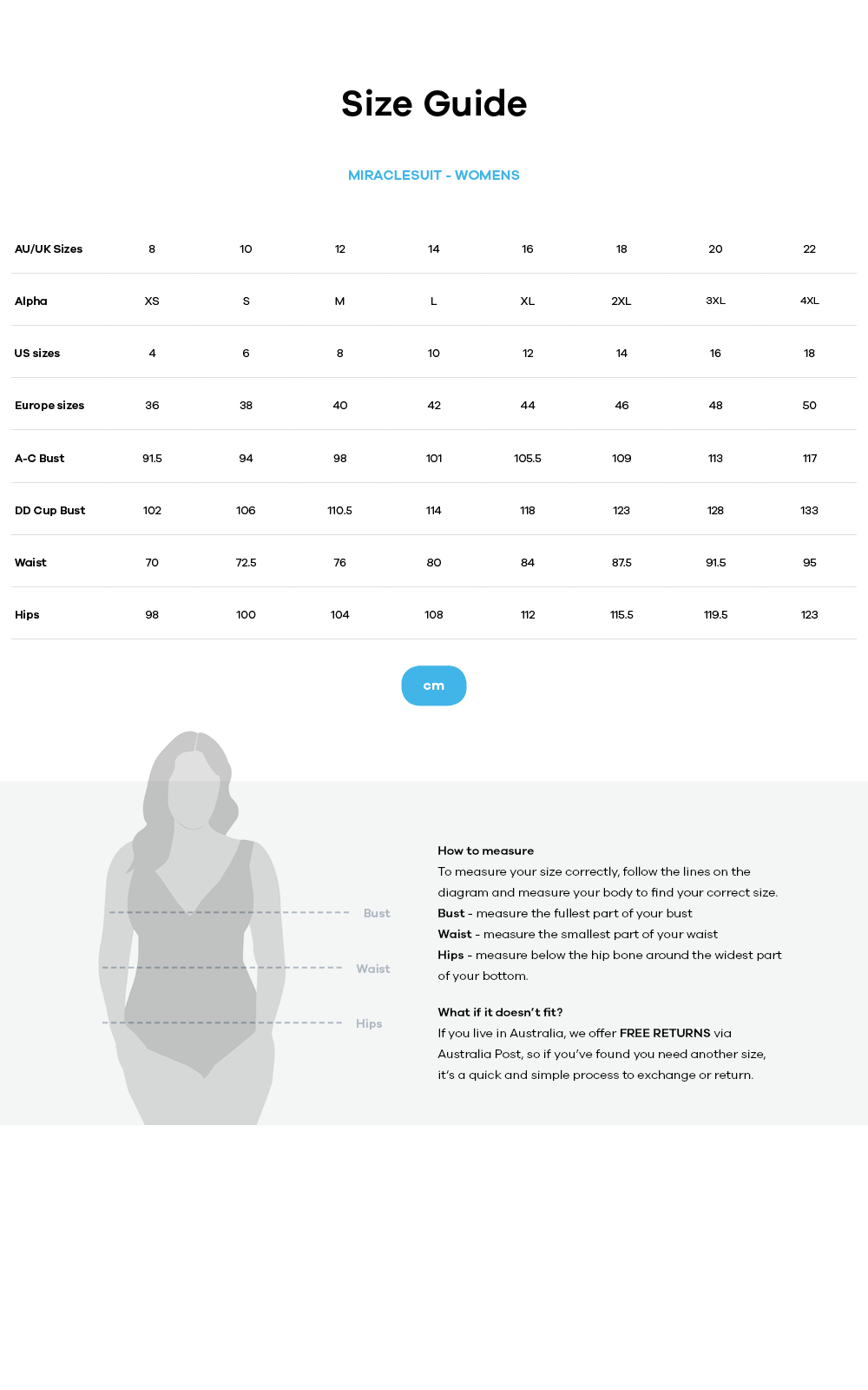 Miraclesuit size guide