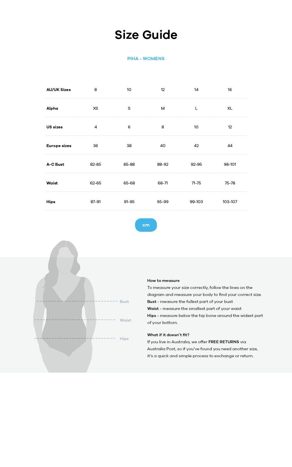 Piha size guide