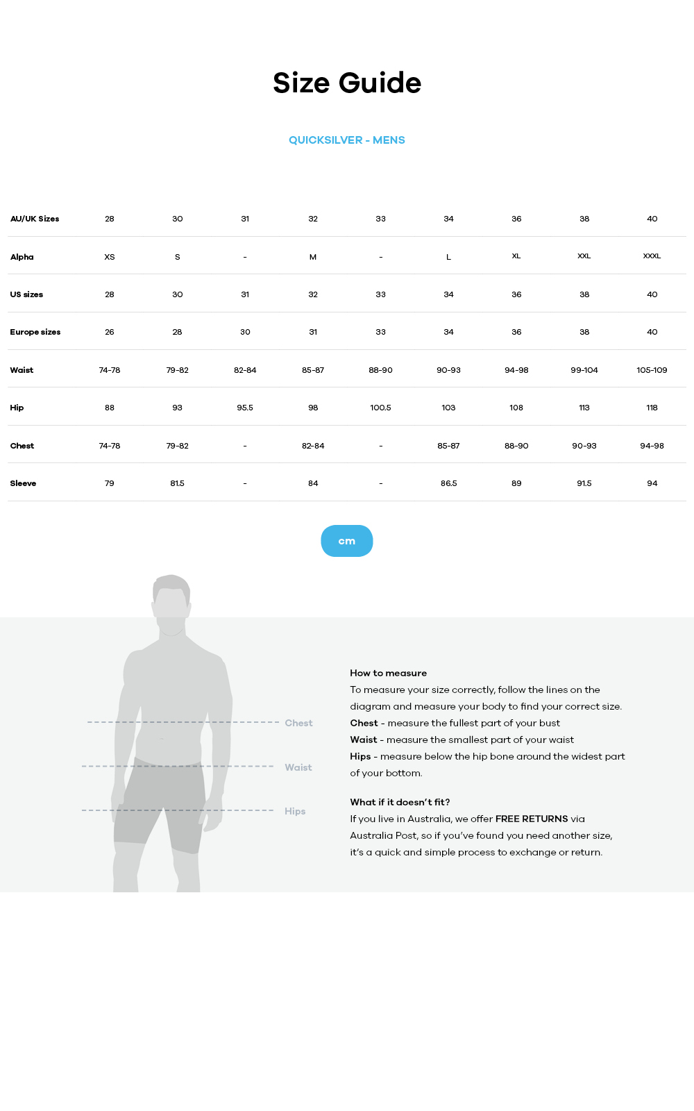 Quiksilver size guide