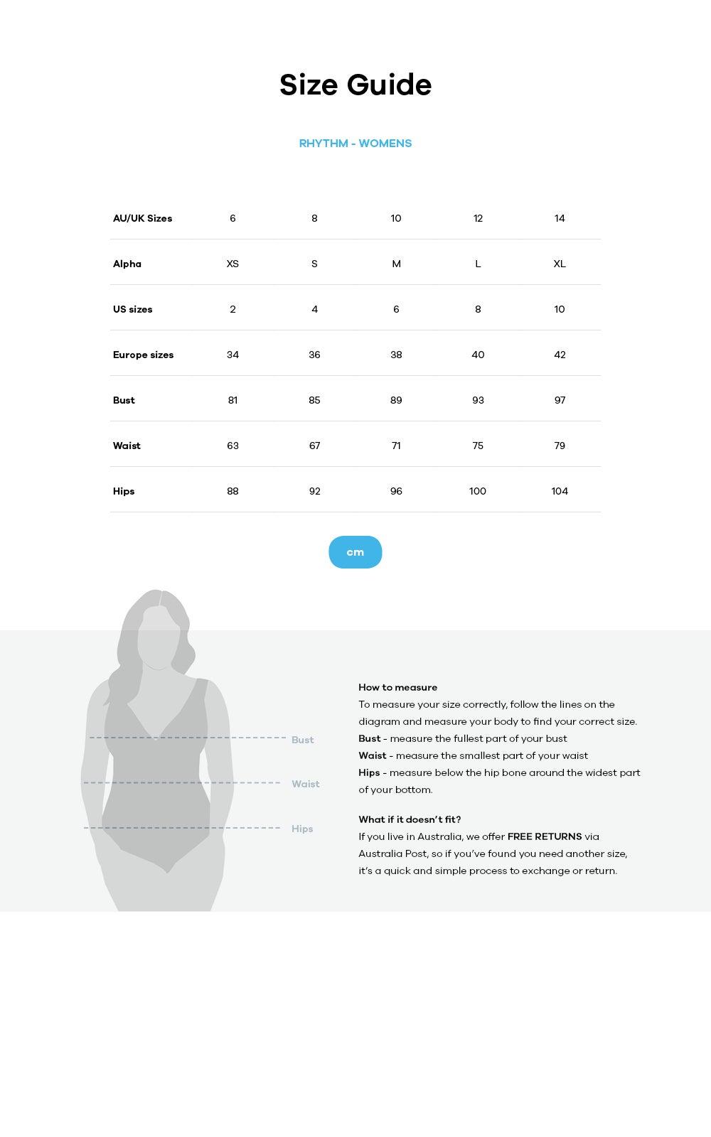 Rhythm size guide