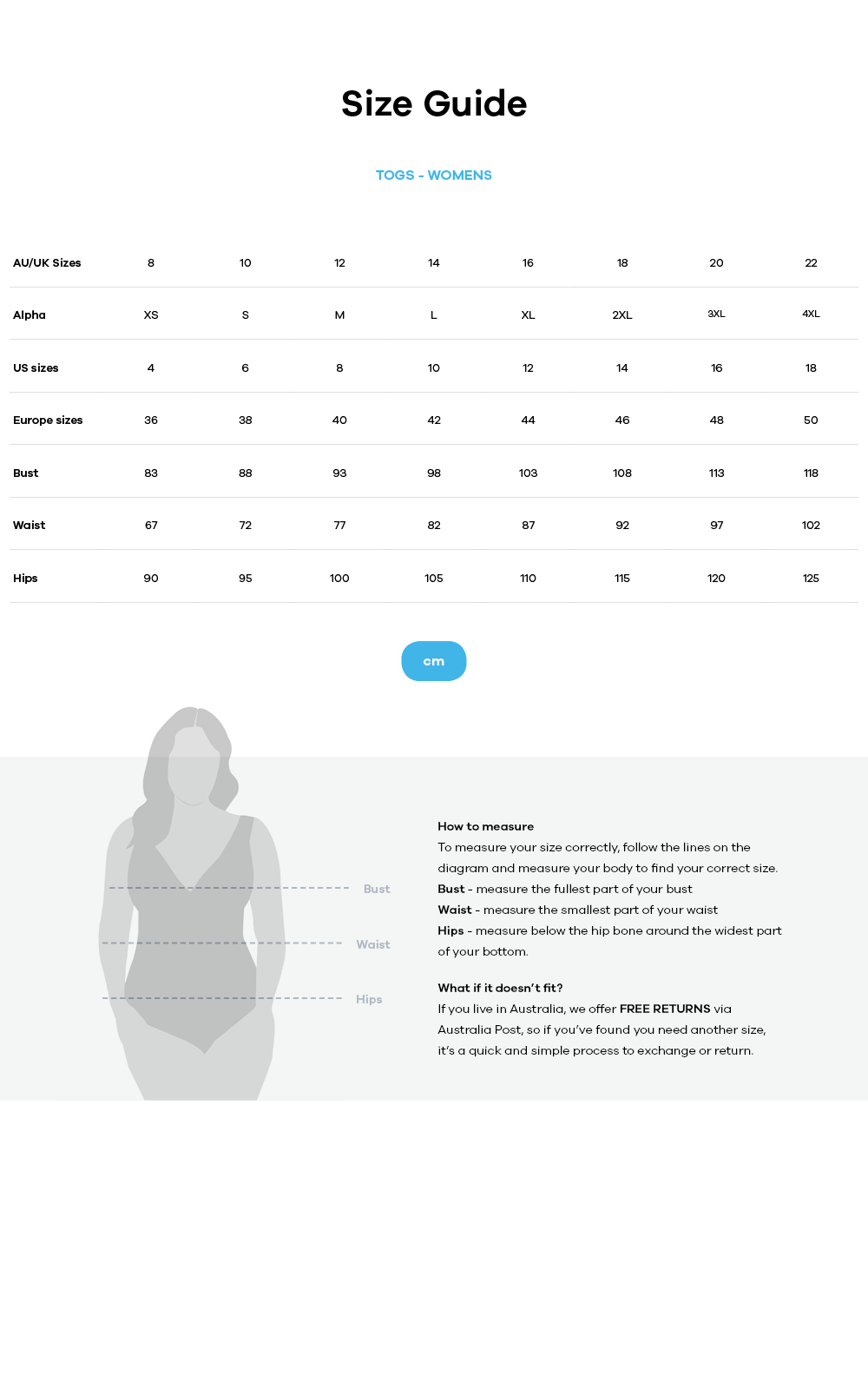 Togs Swimwear size guide