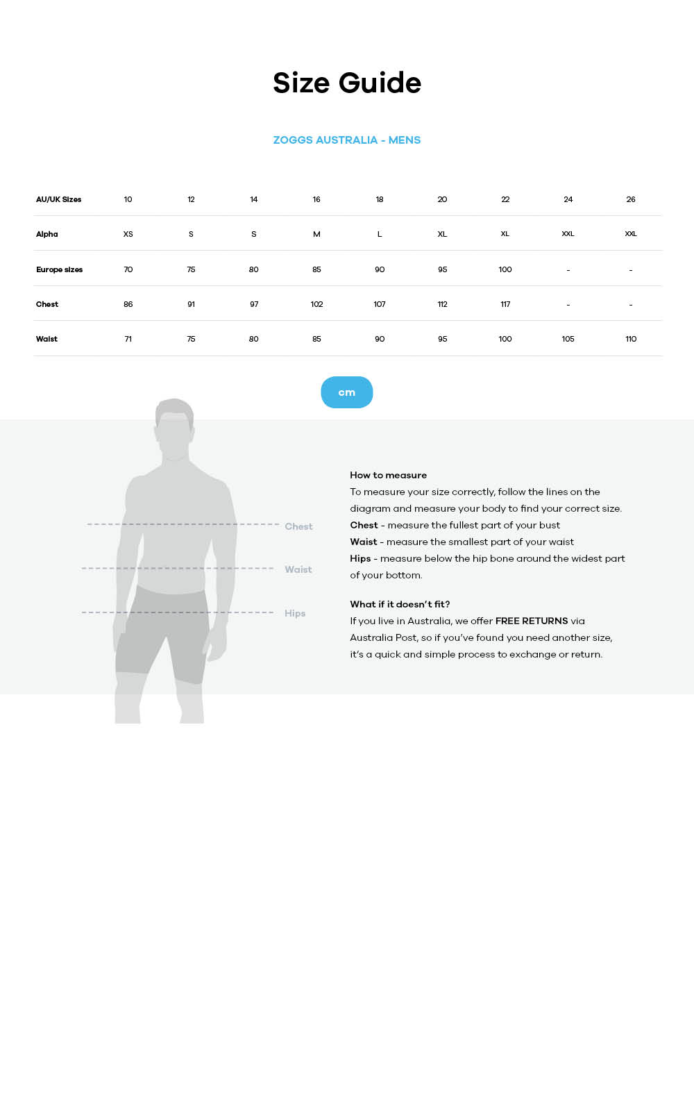 Zoggs size guide