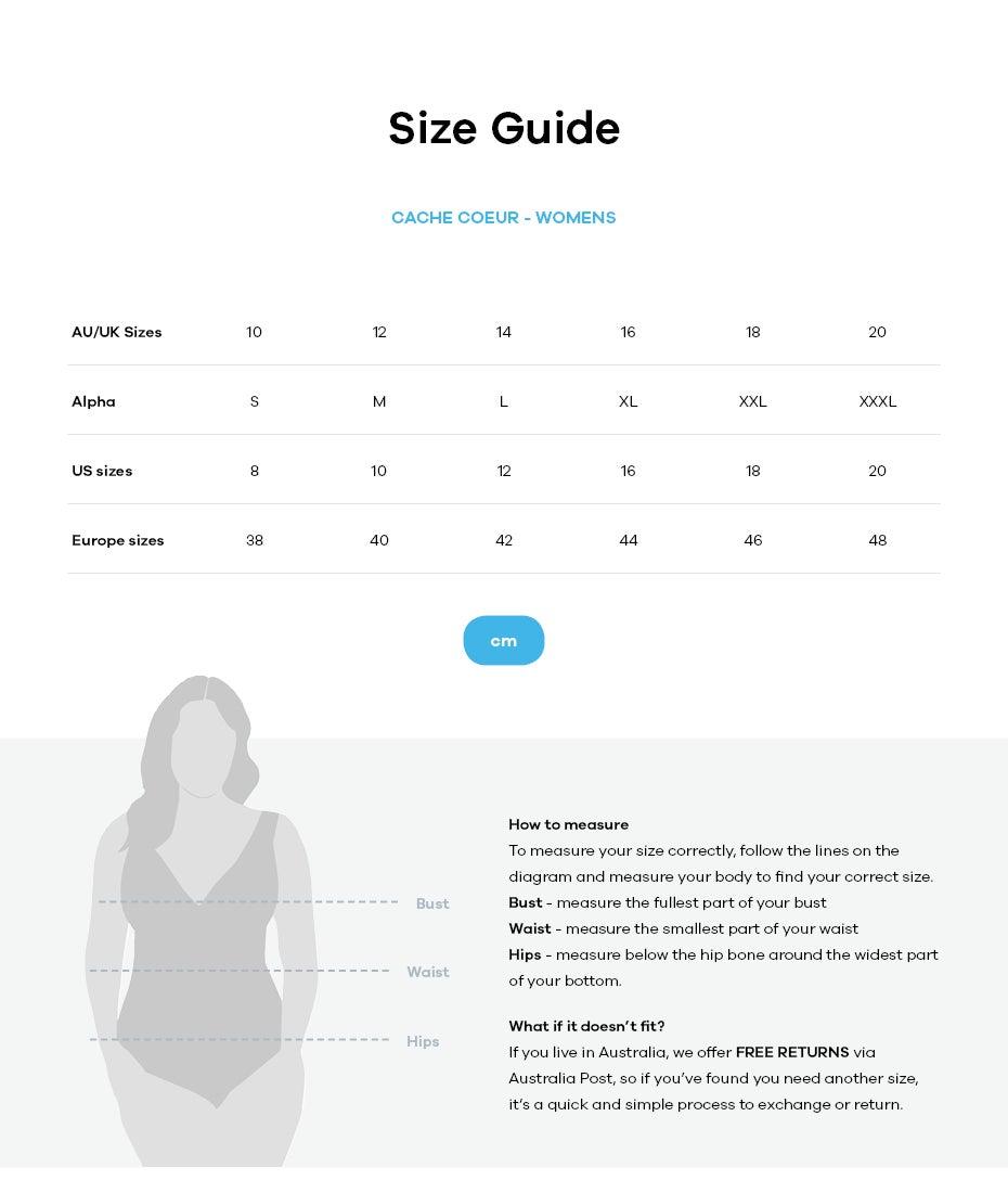 Cache Coeur size guide