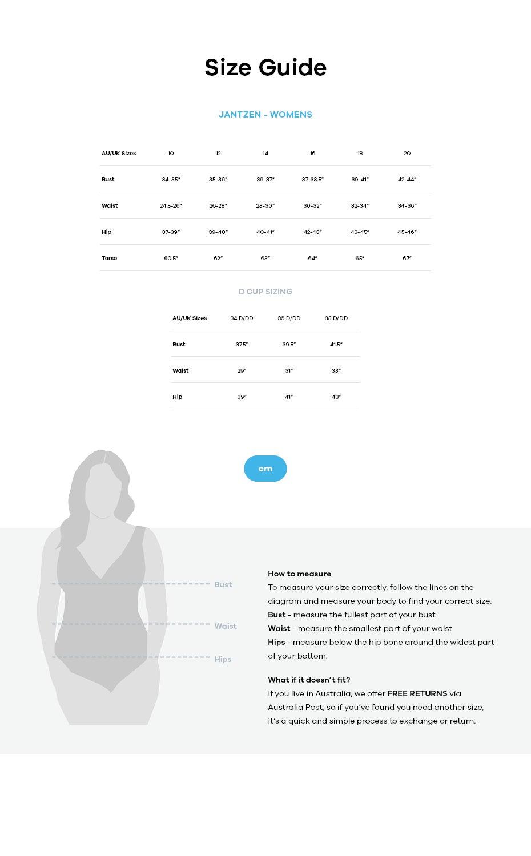 Jantzen size guide