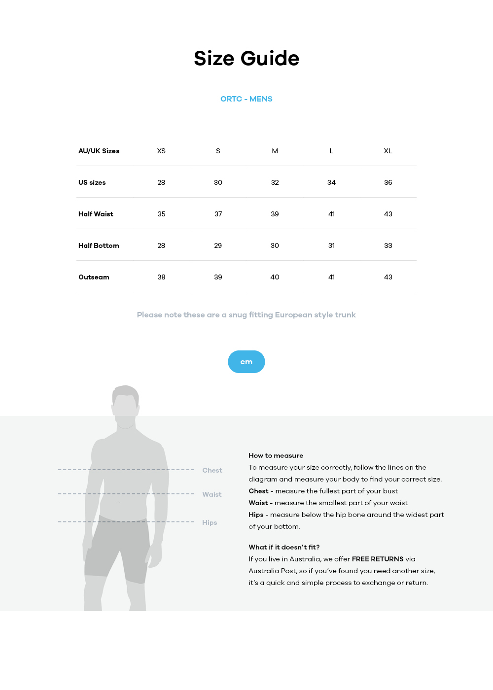 Ortc  size guide