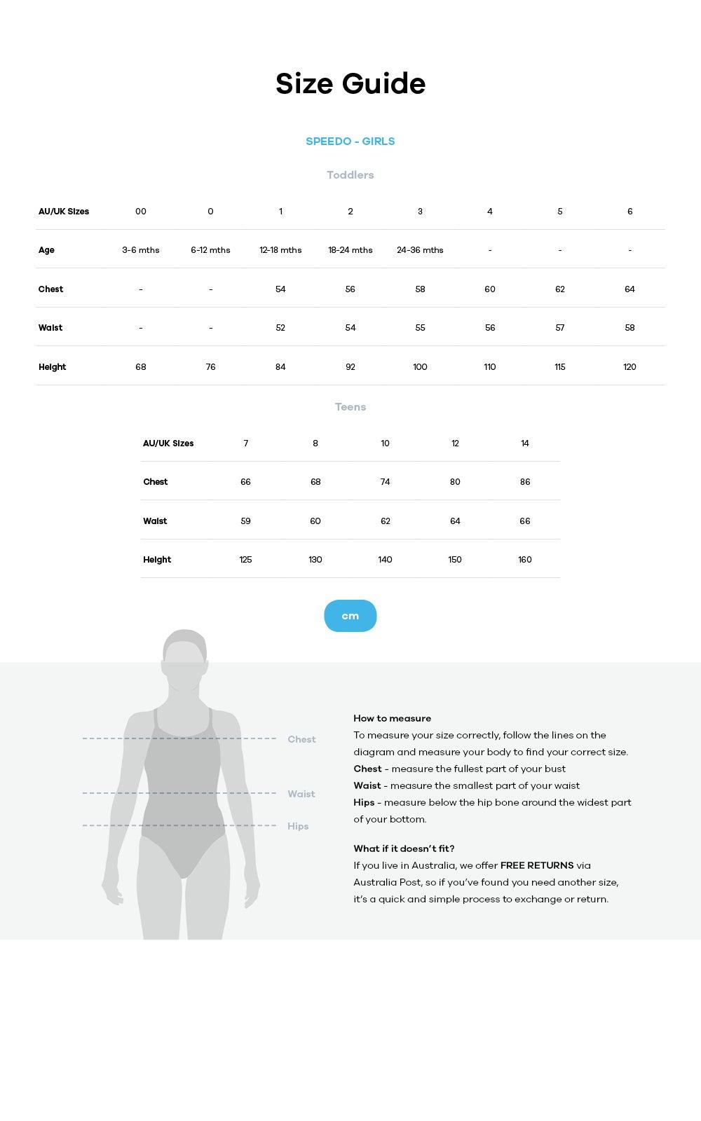Speedo size guide