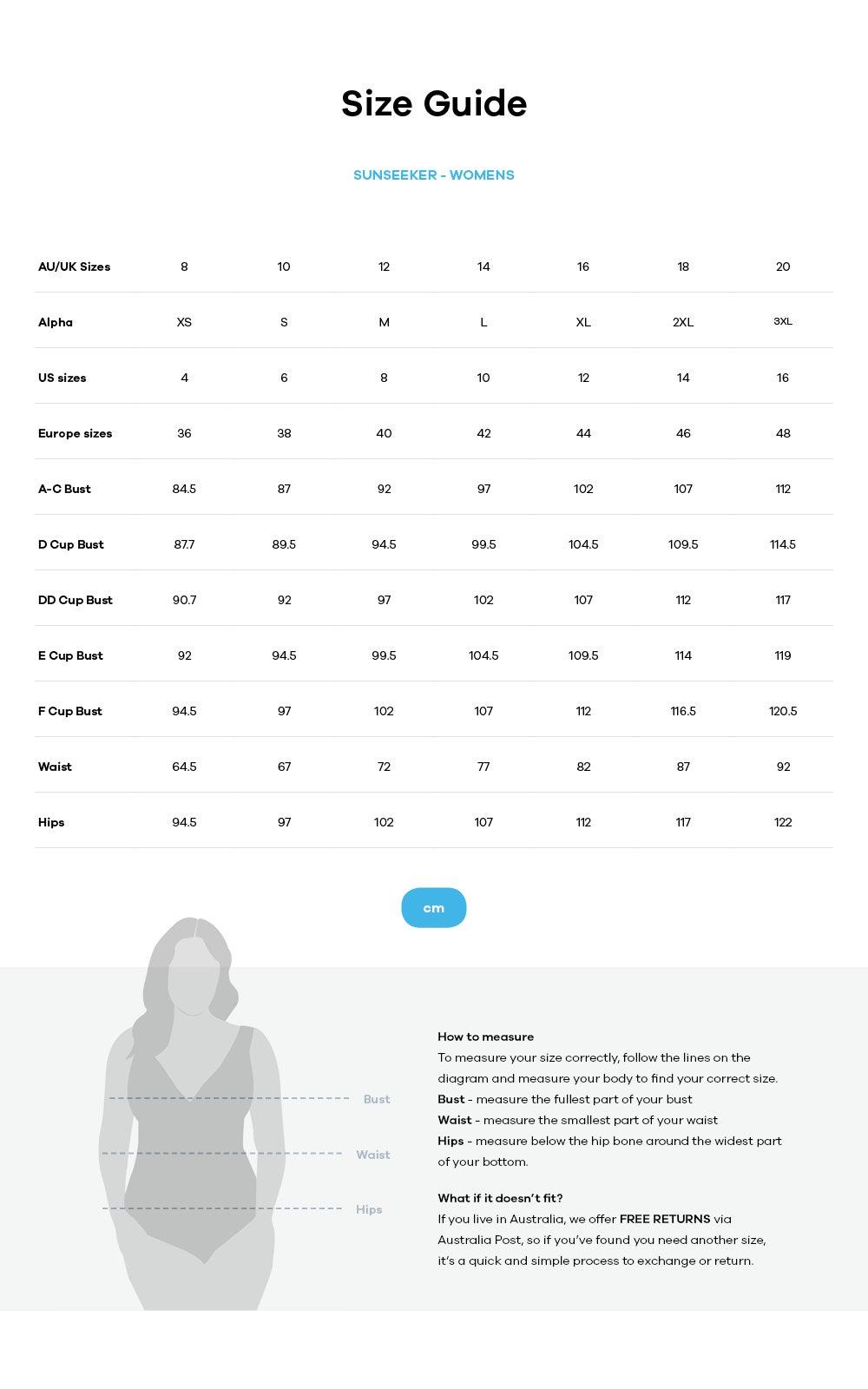 Sunseeker size guide