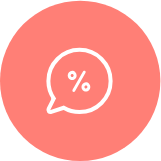 Icon of a Speech Bubble with a Division Symbol inside